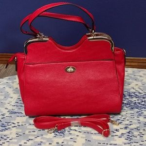 Handbags - Red satchel with gold hardware